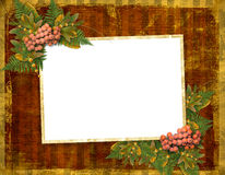 Old grunge card with autumn leaves Stock Images