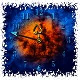 Old grunge clock. Finger near to 12 stock illustration