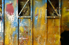 Old grunge color paint on metal wall background Stock Photography