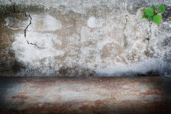 Old Grunge Dark Room Concrete Wall, Rust Stains Concrete Floor B Stock Photography