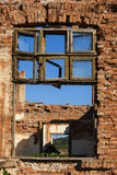 Old grunge destroyed factory. Old grunge destroyed country factory broken windows stock photos