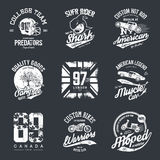 Old grunge effect tee print vector design set Royalty Free Stock Image