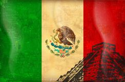 Old grunge flag of Mexico Stock Images