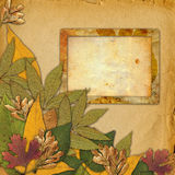 Old grunge frame with autumn leaves Royalty Free Stock Images