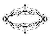 Old grunge frame with floral decoration, vector illustration Stock Image