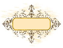 Old grunge frame with floral decoration, vector illustration Royalty Free Stock Photo