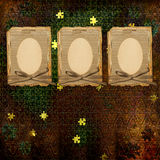 Old grunge frame  with manuscript. On the abstract background Stock Photo
