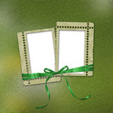 Old grunge frames with ribbons and bow Stock Photography