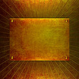 Old grunge gold metal plate Stock Image
