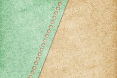 Old grunge green paper on brown texture background Royalty Free Stock Photos
