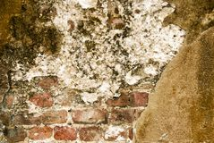 Old Grunge Historic Brick and Cement Wall Textured Background Royalty Free Stock Photos