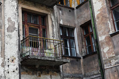 Old grunge house in lodz centre Stock Photo