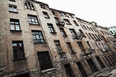 Old grunge house in lodz centre town Royalty Free Stock Photo