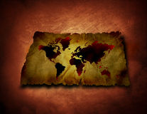 Old grunge map. An old grunge map with a darken shadow on the textured background Stock Photos