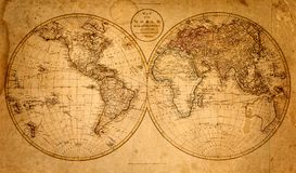 Old Grunge Map. History Background. Stock Photo