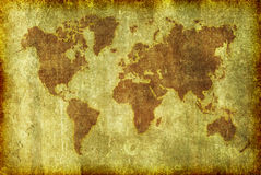 Old Grunge Map of the World Background. A map of the globe in a grunge illustration style as a background, wallpaper or texture royalty free illustration