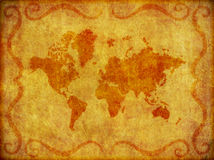 Old, Grunge Map of the World Illustration. Illustration of an old map of the world on a burlap like fabric texture stock illustration