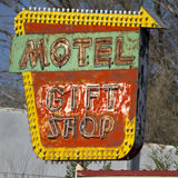 Old Grunge Motel Sign. Retro Motel Sign, in bright colors, with rust Royalty Free Stock Image