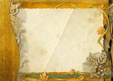 Old grunge paper with autumn leaves Royalty Free Stock Photo