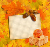 Old grunge paper with autumn oak leaves and Gift box Royalty Free Stock Photo