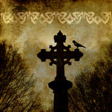 Old grunge paper with celtic cross. vector illustration