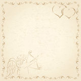 Old grunge paper with Cupid Stock Image