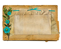 Old grunge paper with flower and ribbon Royalty Free Stock Image