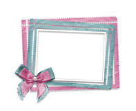 Old grunge paper frames  with bow on  isolated background Stock Photo