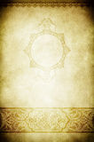 Old grunge paper with ornamental border and frame. Royalty Free Stock Photo