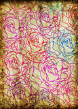 Old grunge paper ,roses pattern Stock Photography