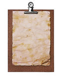 Old grunge papers close-up on brown clipboard Royalty Free Stock Photography