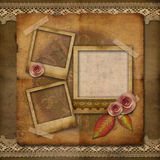 Old grunge photo frame with roses. Lace, watch Royalty Free Stock Images