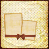 Old grunge photoalbum with paper frames royalty free illustration