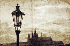Old grunge picture with street lamp in Prague Stock Images