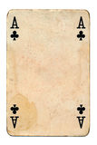 Old grunge playing card isolated on white Stock Image