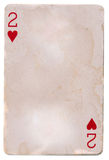Old grunge playing card paper with two heart Stock Photos