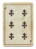 Old grunge playing card with six number isolated Royalty Free Stock Image