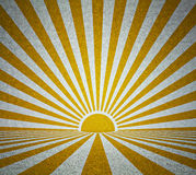 Old grunge room with retro sun rays. Vintage background vector illustration