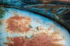 Old grunge scratched rusty vintage colored painted mudguard Citroen 2CV royalty free stock photography