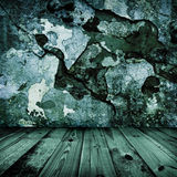 Old grunge stylish wall and wooden floor Stock Photo