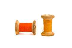 Old grunge thread spools isolated on white Stock Image