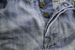 Old grunge vintage denim jeans. Stitched texture denim jeans bac Royalty Free Stock Photography