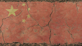 Old grunge vintage faded China republic flag. Old grunge vintage dirty faded shabby distressed China or Chinese republic flag background on broken concrete wall stock photos