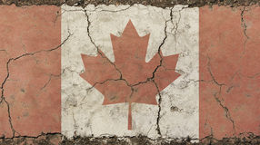 Old grunge vintage faded flag of Canada. Old grunge vintage dirty faded shabby distressed Canadian Canada flag with red maple leaf over white background on royalty free stock image