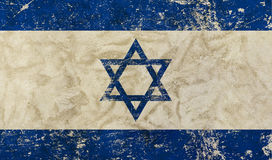 Old grunge vintage faded flag of Israel. Old grunge vintage dirty faded shabby distressed Israel flag of white background with blue Star of Judah Magen David Stock Photography