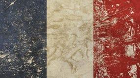 Old grunge vintage faded France republic flag. Old grunge vintage dirty faded shabby distressed France republic national flag background Royalty Free Stock Photo