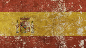Old grunge vintage faded Kingdom of Spain flag Royalty Free Stock Images