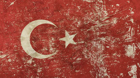 Old grunge vintage faded Republic of Turkey flag Stock Images