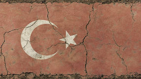 Old grunge vintage faded Republic of Turkey flag Royalty Free Stock Photos