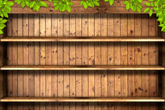 Old grunge wood texture with leaves Royalty Free Stock Images